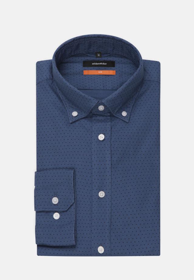Bügelleichtes Chambray Business Hemd in Slim mit Button-Down-Kragen in Mittelblau |  Seidensticker Onlineshop