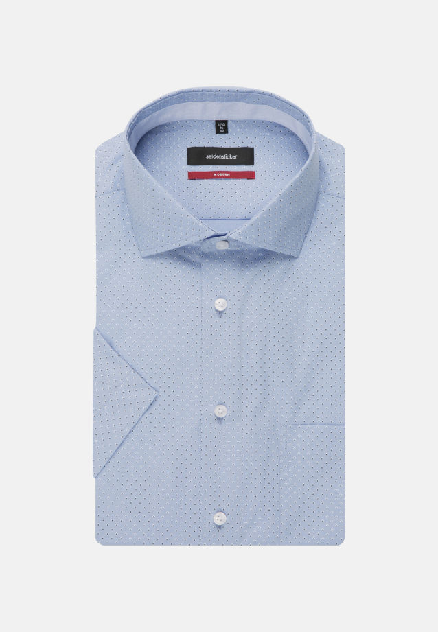 Bügelleichtes Popeline Kurzarm Business Hemd in Regular mit Kentkragen in Hellblau    Seidensticker Onlineshop
