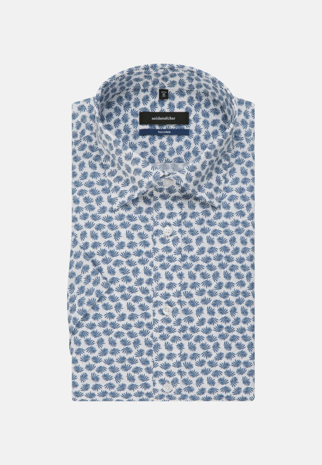 Easy-iron Poplin Short sleeve Business Shirt in Shaped with Covered-Button-Down-Collar in Medium blue |  Seidensticker Onlineshop