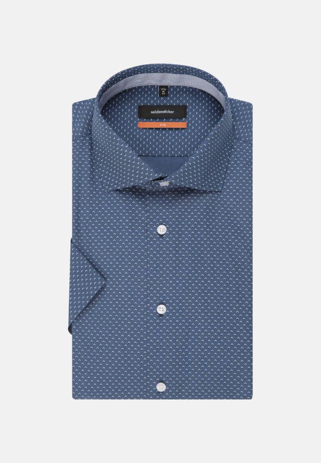 Bügelleichtes Popeline Kurzarm Business Hemd in Slim mit Kentkragen in Mittelblau |  Seidensticker Onlineshop