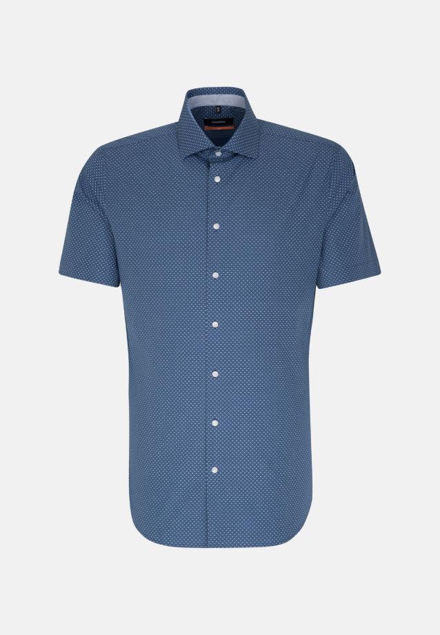 Easy-iron Poplin Short arm Business Shirt in Slim with Kent-Collar in Medium blue |  Seidensticker Onlineshop