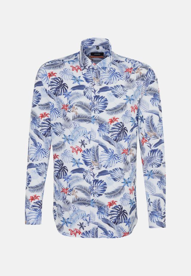Easy-iron Poplin Business Shirt in Slim with Button-Down-Collar in Medium blue |  Seidensticker Onlineshop