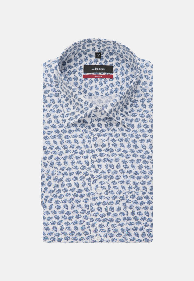 Bügelleichtes Popeline Kurzarm Business Hemd in Modern mit Covered-Button-Down-Kragen in Mittelblau |  Seidensticker Onlineshop