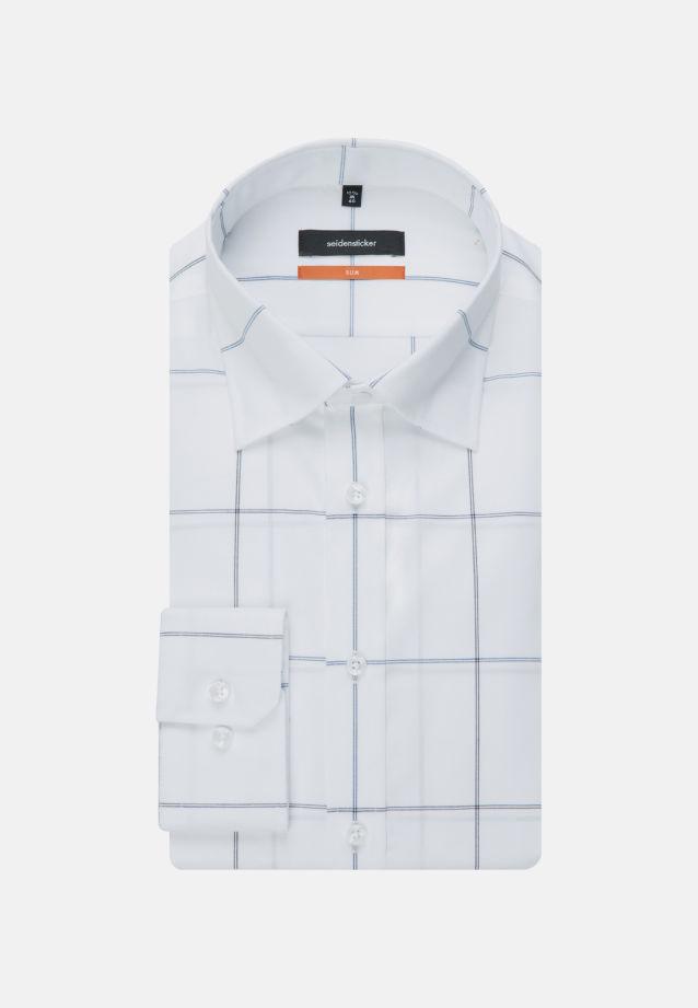 Non-iron Poplin Business Shirt in Slim with Covered-Button-Down-Collar in Medium blue |  Seidensticker Onlineshop