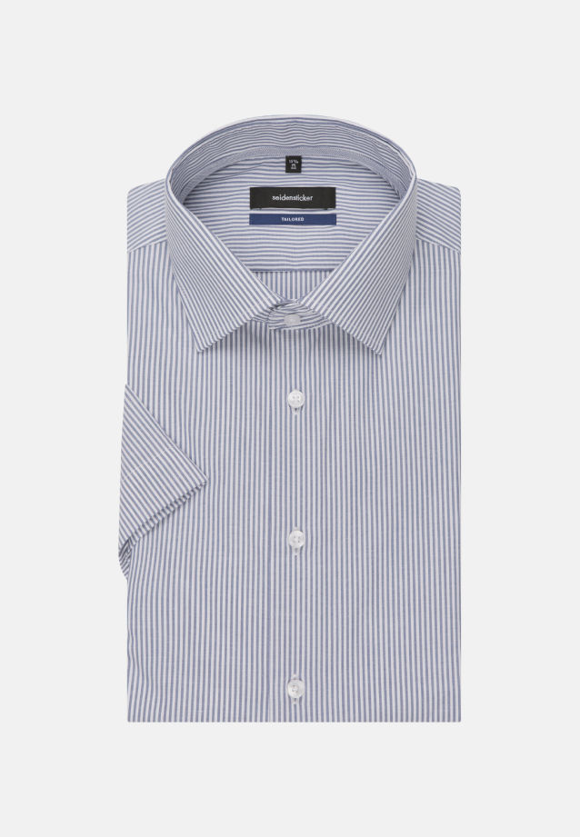 Non-iron Poplin Short sleeve Business Shirt in Shaped with Kent-Collar in Medium blue |  Seidensticker Onlineshop