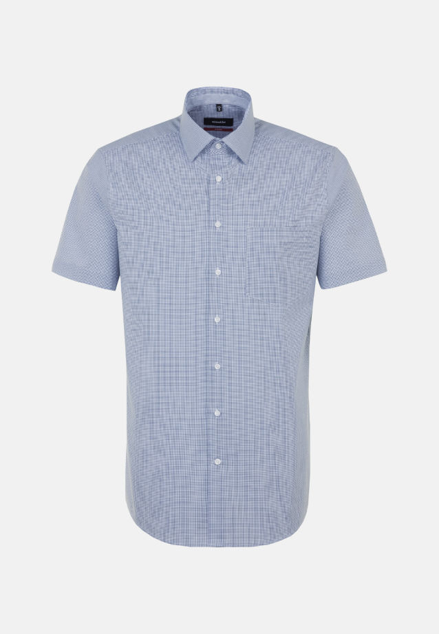 Non-iron Poplin Short arm Business Shirt in Regular with Kent-Collar in Medium blue |  Seidensticker Onlineshop