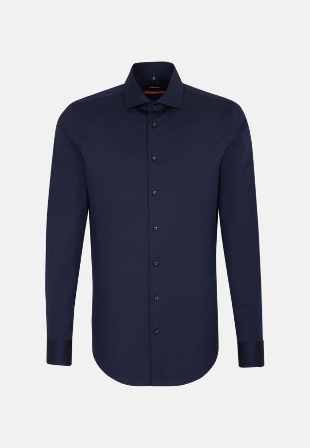 Bügelfreies Twill Business Hemd in Slim mit Kentkragen und extra langem Arm in Dunkelblau |  Seidensticker Onlineshop