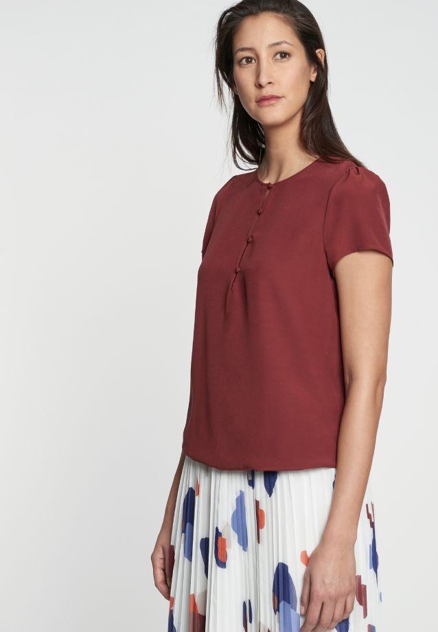 Kurzarm Krepp Shirtbluse aus 100% Viskose in braun NP |  Seidensticker Onlineshop