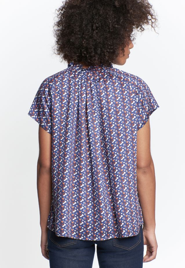 Short sleeve Voile Slip Over Blouse made of 100% Viscose in Dark blue |  Seidensticker Onlineshop