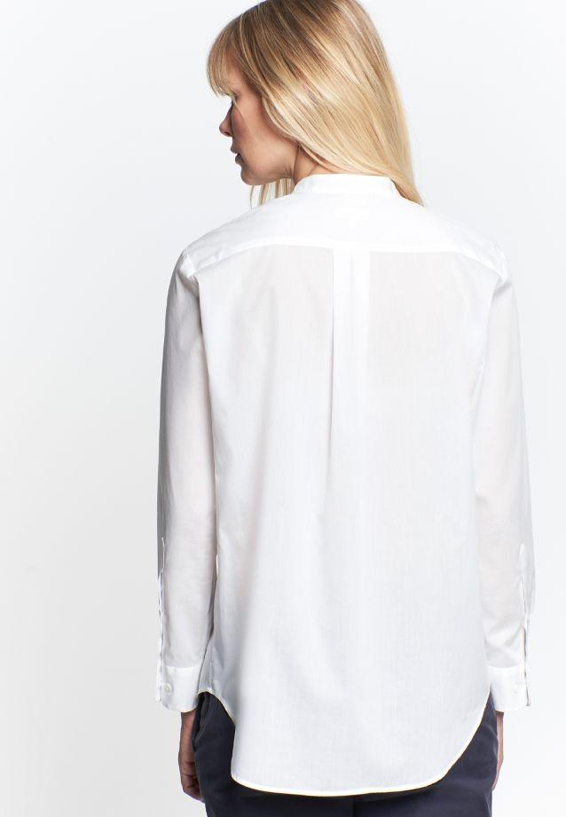 Poplin Stand-Up Blouse made of 100% Cotton in weiß |  Seidensticker Onlineshop