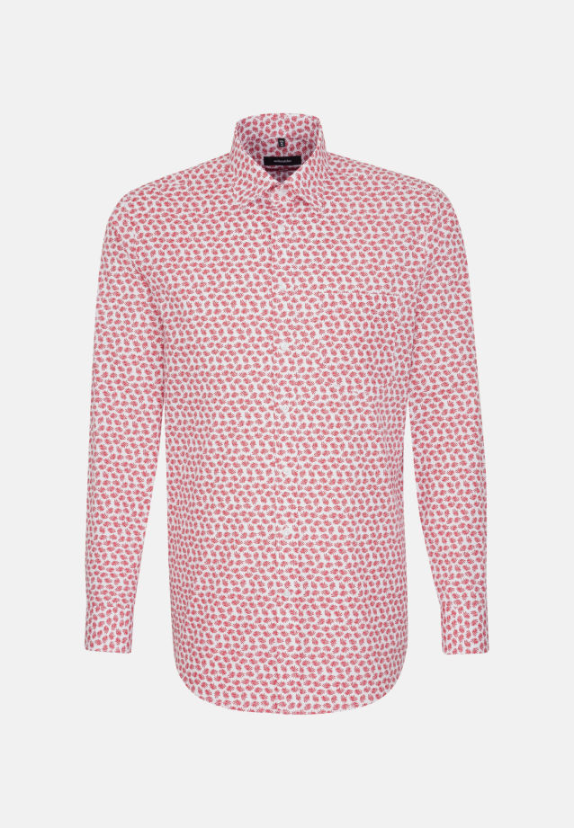 Bügelleichtes Popeline Business Hemd in Modern mit Covered-Button-Down-Kragen in Rot |  Seidensticker Onlineshop