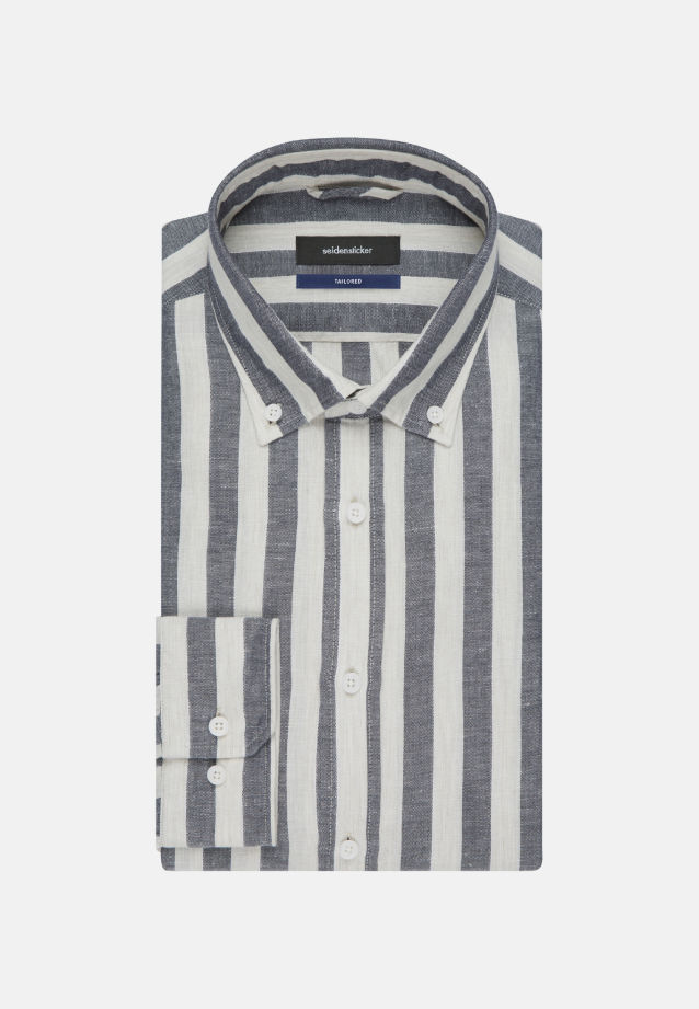 Melange Garne Business Hemd in Shaped mit Button-Down-Kragen in Dunkelblau |  Seidensticker Onlineshop