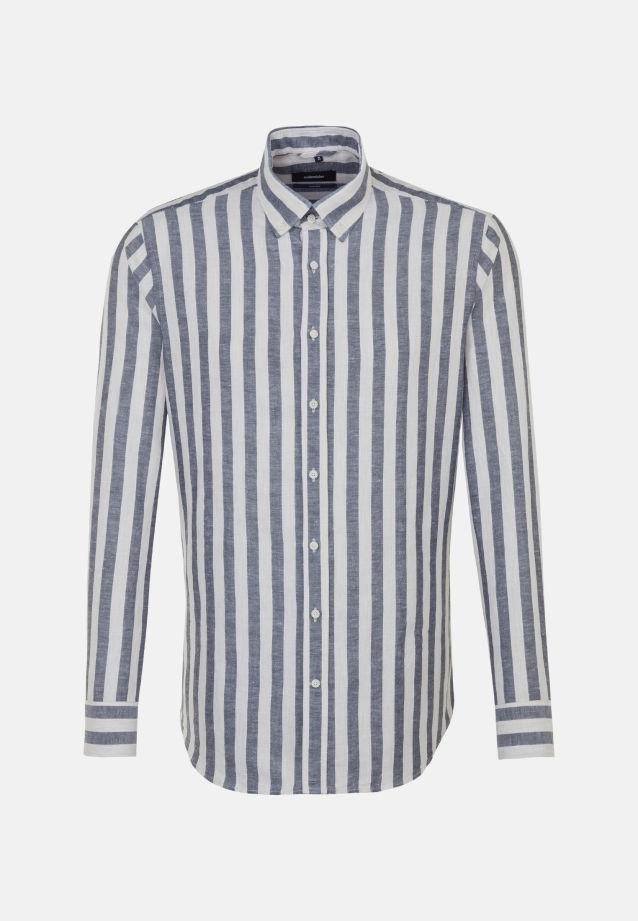 Melange Garne Business Hemd in Shaped mit Button-Down-Kragen in Dunkelblau |  Seidensticker Onlineshop