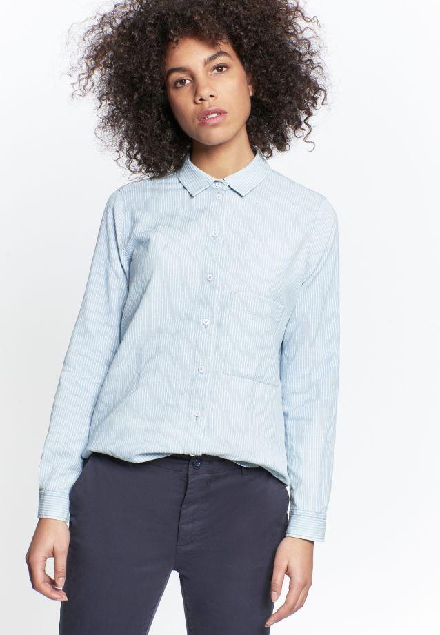 Linen Shirt Blouse made of 75% Cotton 25% Leinen/Flachs in Medium blue |  Seidensticker Onlineshop
