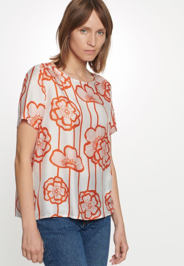 Short sleeve Voile Shirt Blouse made of silk blend in Orange |  Seidensticker Onlineshop