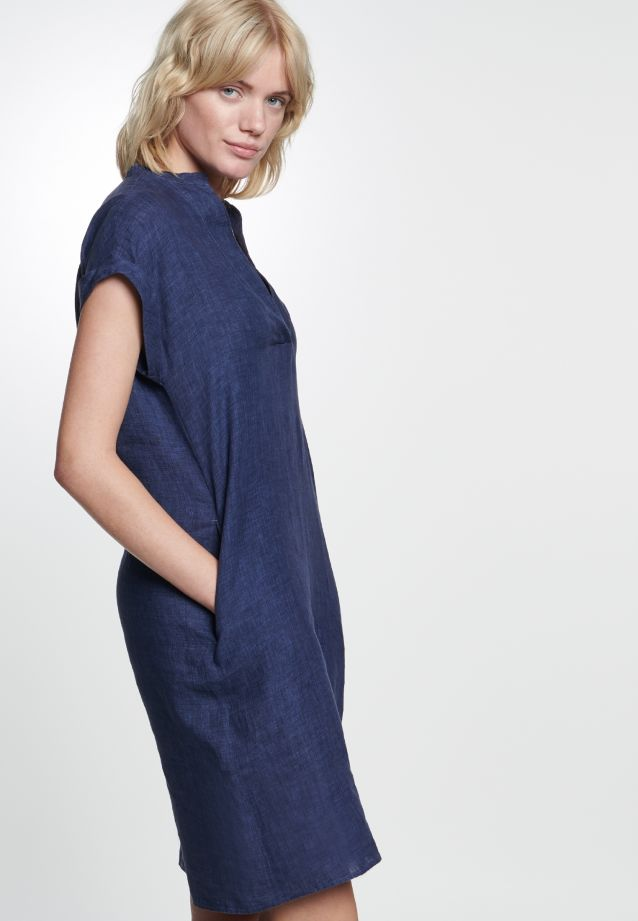 Sleeveless Linen Midi Dress made of 100% Leinen/Flachs in Dark blue |  Seidensticker Onlineshop