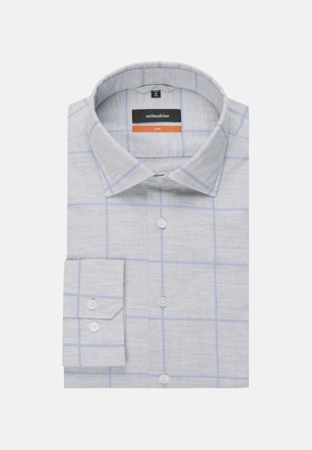 Easy-iron Melange yarns Business Shirt in Slim with Kent-Collar in Grey |  Seidensticker Onlineshop