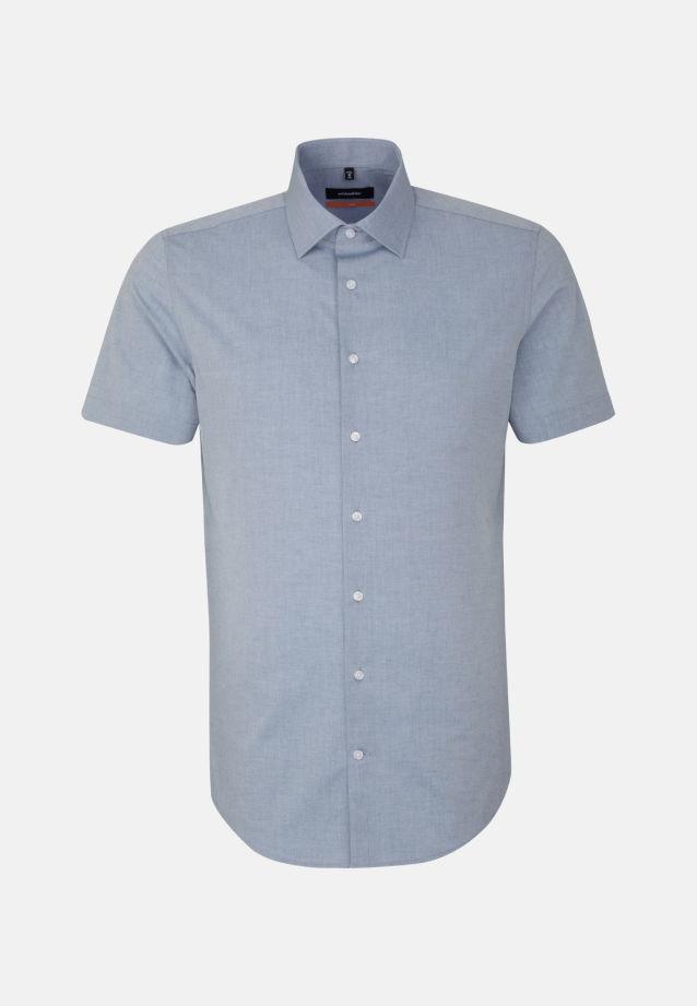 Bügelleichtes Melange Garne Kurzarm Business Hemd in Slim mit Kentkragen in blau    Seidensticker Onlineshop