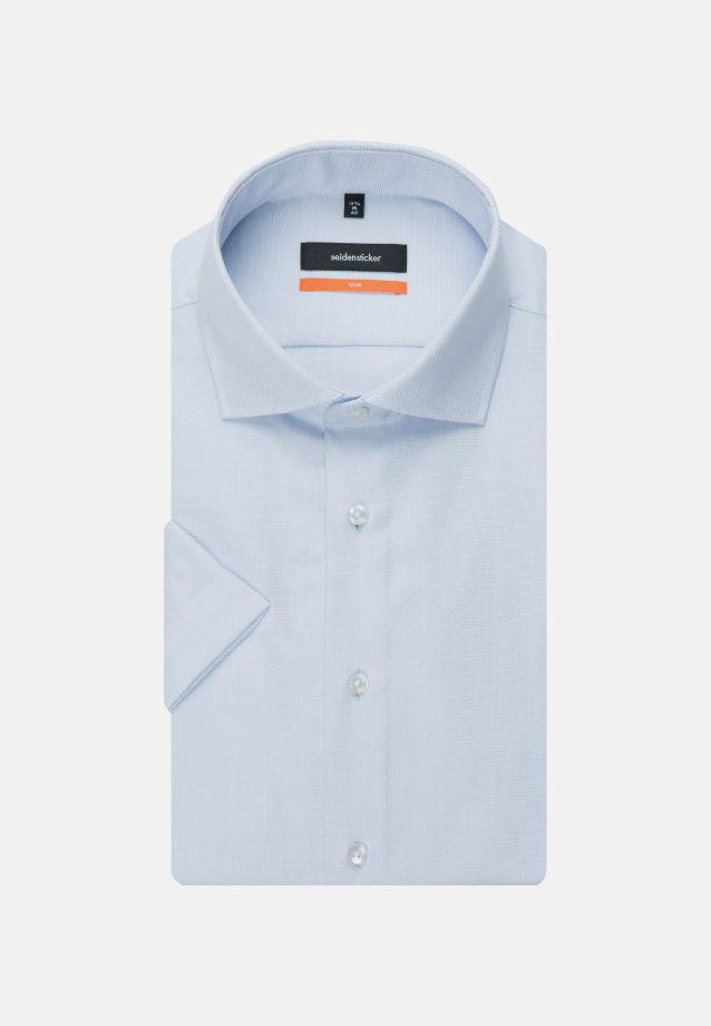 Bügelleichtes Struktur Kurzarm Business Hemd in Slim mit Kentkragen in blau |  Seidensticker Onlineshop