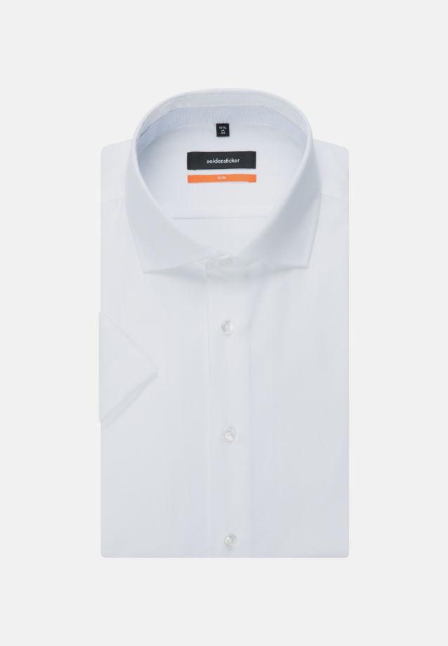 Bügelleichtes Struktur Kurzarm Business Hemd in Slim mit Kentkragen in Weiß |  Seidensticker Onlineshop