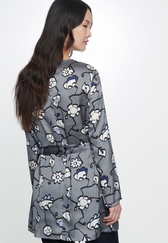 Satin Slip Over Blouse made of 100% Polyester in grau bleu    Seidensticker Onlineshop