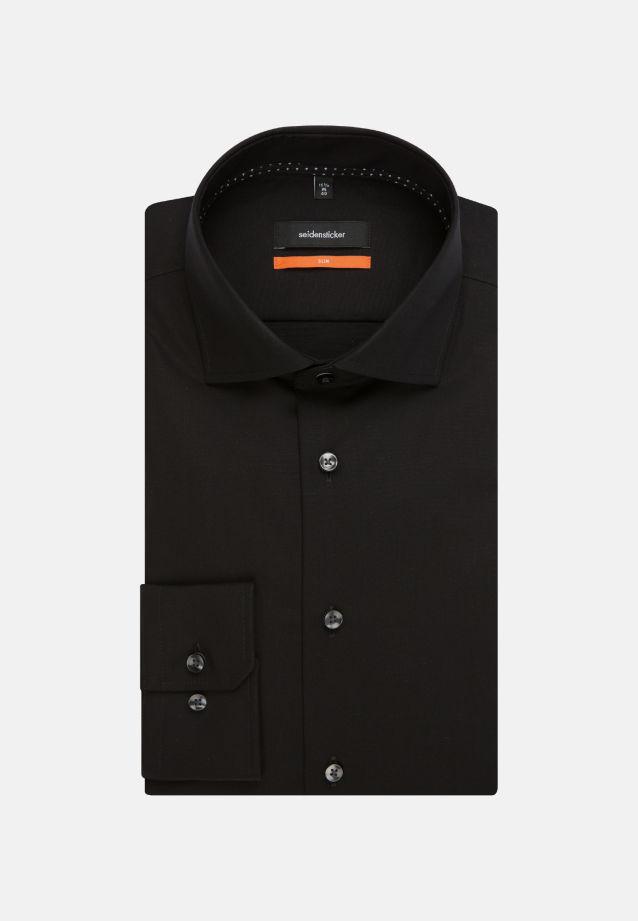 Non-iron Poplin Business Shirt in Slim with Kent-Collar in schwarz    Seidensticker Onlineshop