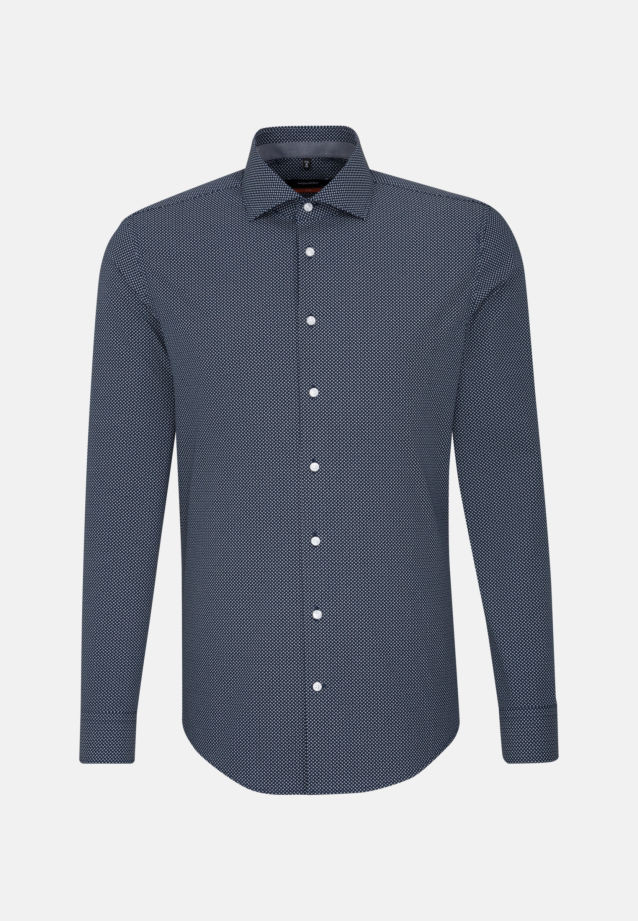 Easy-iron Poplin Business Shirt in Slim with Kent-Collar and extra long arm in Dark blue |  Seidensticker Onlineshop