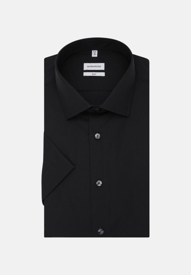 Non-iron Poplin Short sleeve Business Shirt in Slim with Kent-Collar in Black |  Seidensticker Onlineshop