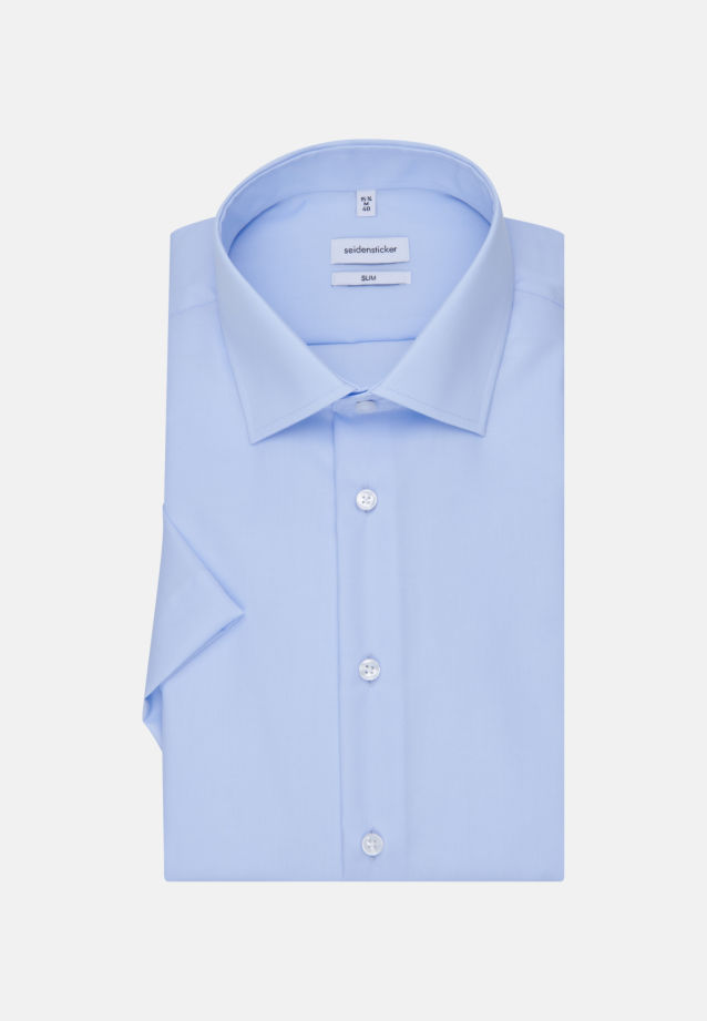 Non-iron Poplin Short arm Business Shirt in Slim with Kent-Collar in Medium blue |  Seidensticker Onlineshop