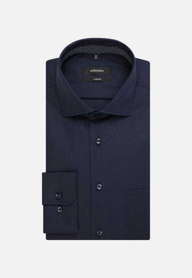 Non-iron Poplin Business Shirt in Comfort with Kent-Collar in Dark blue |  Seidensticker Onlineshop