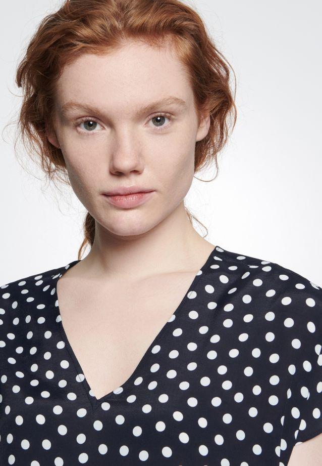 Kurzarm Voile Shirtbluse aus 100% Viskose in marine-weiß |  Seidensticker Onlineshop