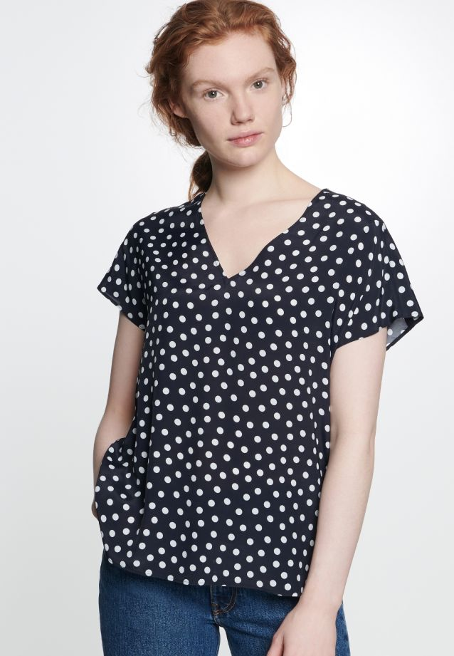 Short arm Voile Shirt Blouse made of 100% Viskose in Dark blue |  Seidensticker Onlineshop