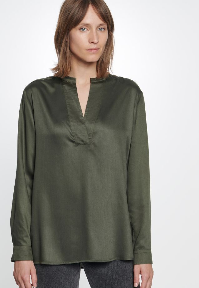 Satin Slip Over Blouse made of 100% Viskose in Green |  Seidensticker Onlineshop