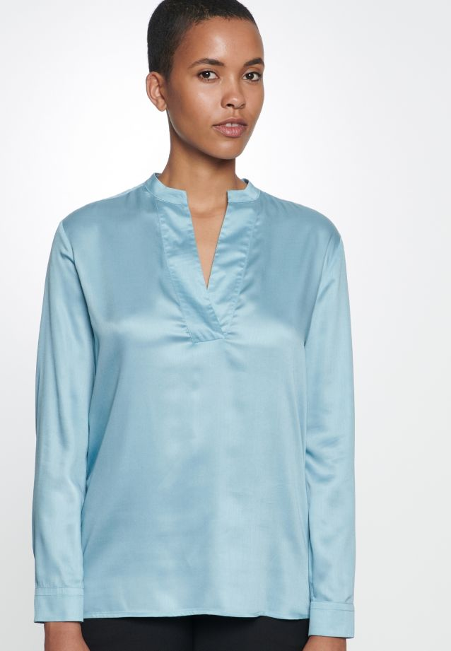 Satin Slip Over Blouse made of 100% Viscose in Turquoise |  Seidensticker Onlineshop