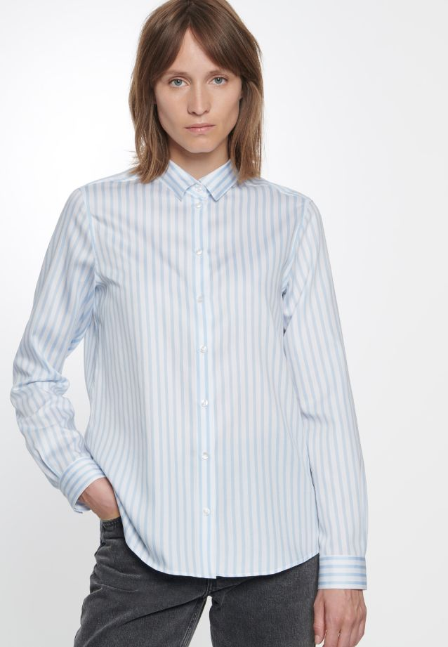 Satin Hemdbluse aus 100% Baumwolle in Hellblau |  Seidensticker Onlineshop