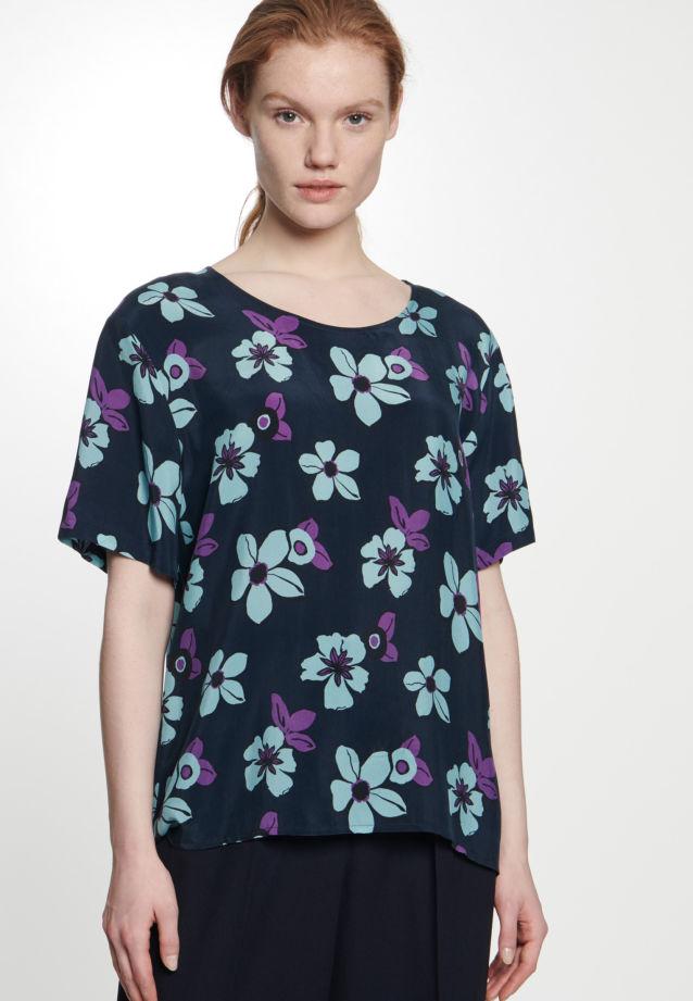 Kurzarm Shirtbluse aus 100% Cupro in Dunkelblau |  Seidensticker Onlineshop