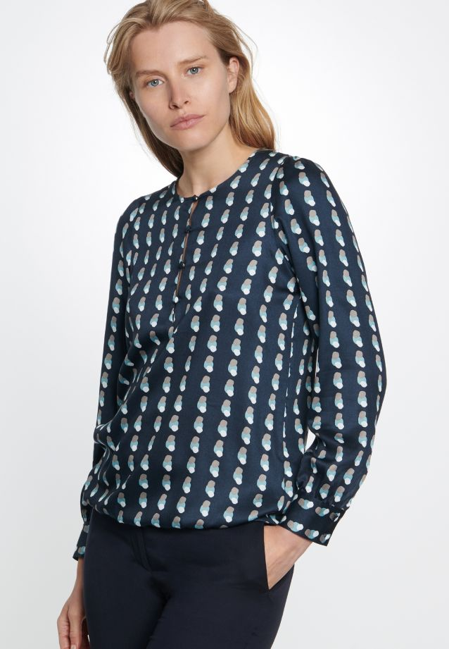 Satin Shirt Blouse made of 100% Viskose in Dark blue |  Seidensticker Onlineshop