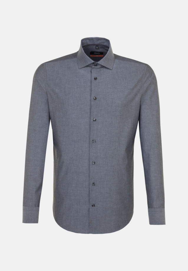Non-iron Chambray Business Shirt in Slim with Kent-Collar in Black |  Seidensticker Onlineshop