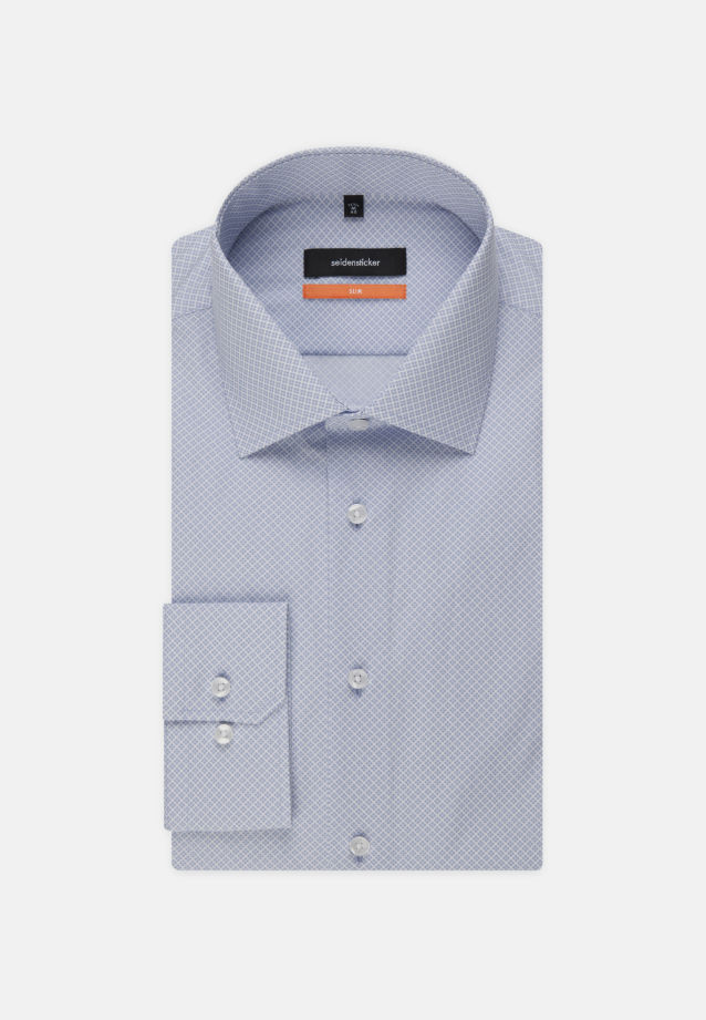 Easy-iron Poplin Business Shirt in Slim with Kent-Collar and extra short arm in Light blue |  Seidensticker Onlineshop