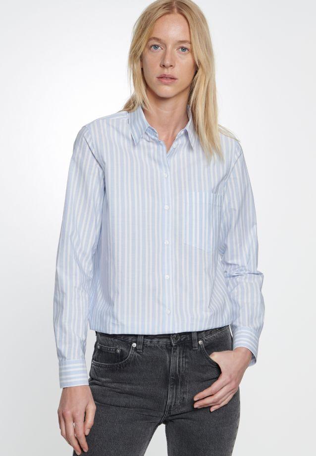 Fil a fil Hemdbluse aus 100% Baumwolle in blau-weiß |  Seidensticker Onlineshop
