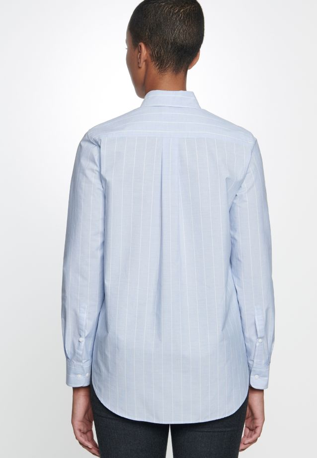 Fil a fil Shirt Blouse made of 100% Cotton in blau-weiß    Seidensticker Onlineshop