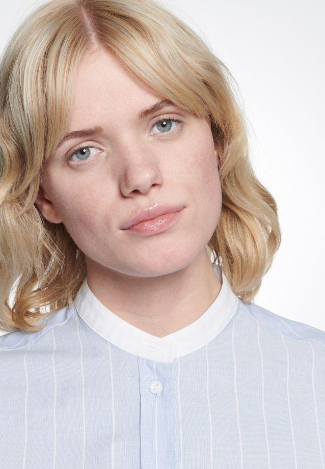 Fil a fil Stand-Up Blouse made of 100% Cotton in blau-weiß |  Seidensticker Onlineshop