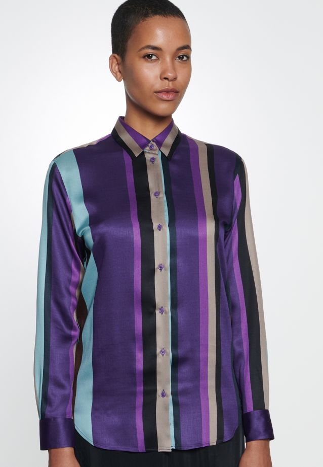 Satin Shirt Blouse made of 100% Viscose in Purple |  Seidensticker Onlineshop