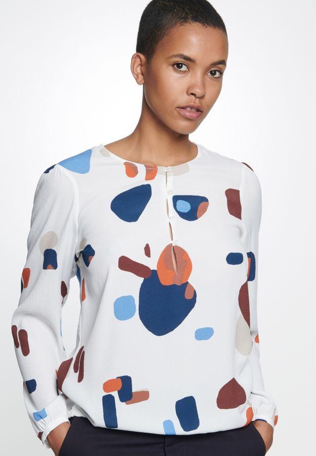Krepp Shirtbluse aus 100% Viskose in weiß-blau |  Seidensticker Onlineshop
