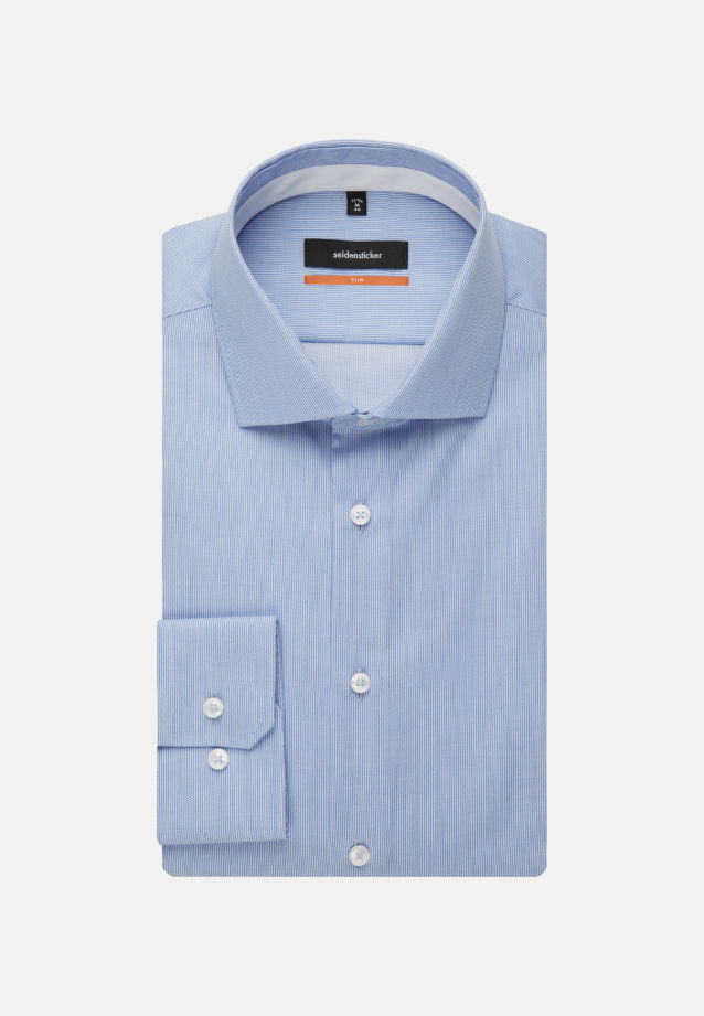 Non-iron Twill Business Shirt in Slim with Kent-Collar and extra long sleeve in Light blue |  Seidensticker Onlineshop