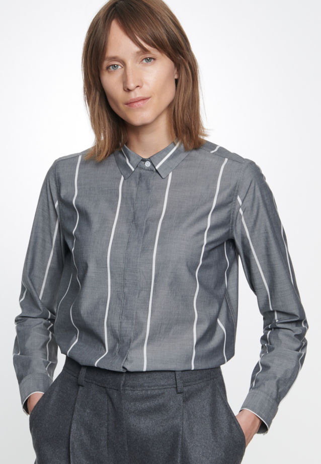 Poplin Shirt Blouse made of 100% Cotton in grau |  Seidensticker Onlineshop