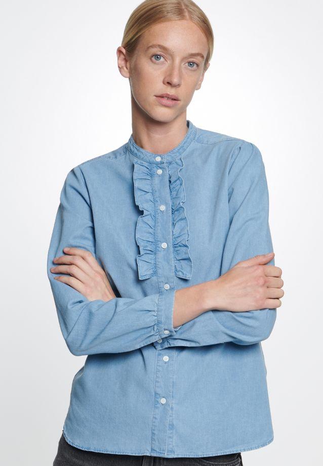 Denim Stand-Up Blouse made of 100% Cotton in mittelblau    Seidensticker Onlineshop
