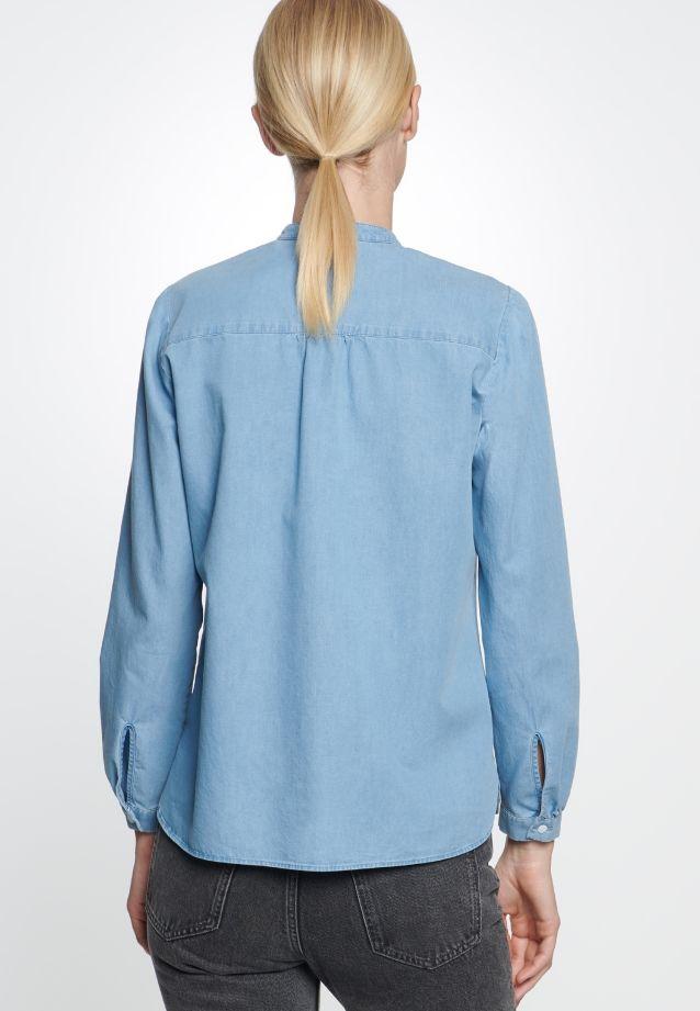 Denim Stehkragenbluse aus 100% Baumwolle in Mittelblau |  Seidensticker Onlineshop