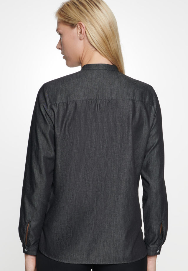 Denim Stand-Up Blouse made of 100% Cotton in Grey |  Seidensticker Onlineshop