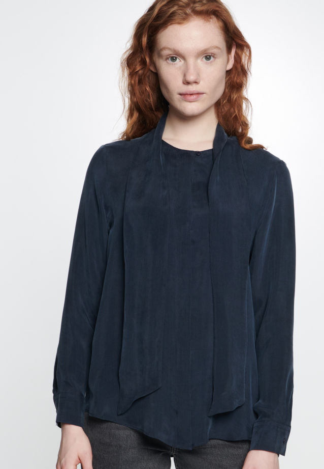 Tie-Neck Blouse made of 55% Rayon 45% Cupro in Dark blue |  Seidensticker Onlineshop